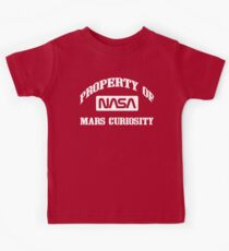 Property of NASA Mars Curiosity Rover Athletic Wear White ink Kids Tee
