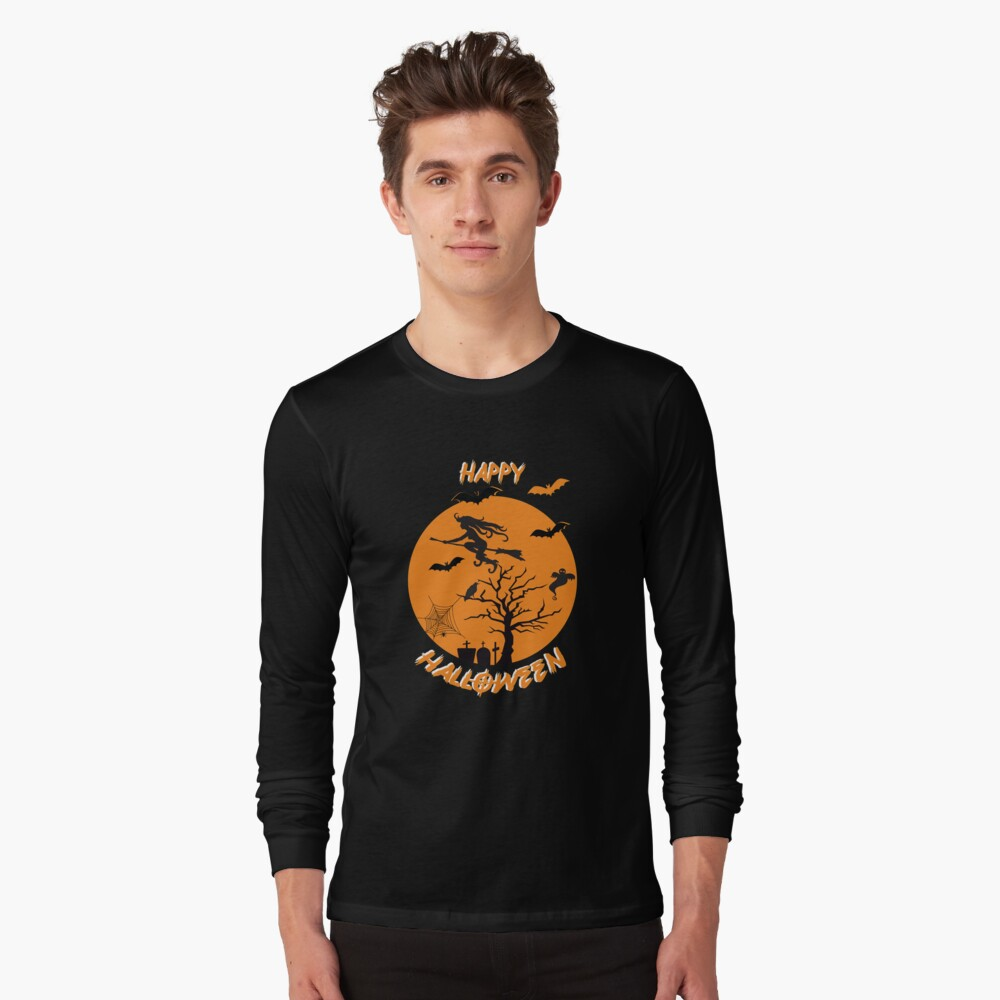 Moonlit Bat Cobweb Gravestone Ghost Spider Witch Broomstick. Long Sleeve T-Shirt