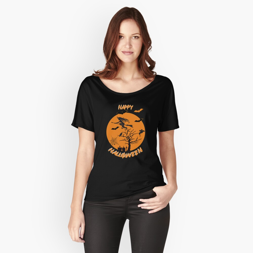 Moonlit Bat Cobweb Gravestone Ghost Spider Witch Broomstick. Relaxed Fit T-Shirt