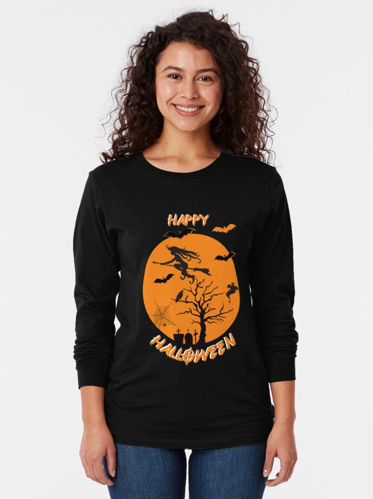Alternate view of Moonlit Bat Cobweb Gravestone Ghost Spider Witch Broomstick. Long Sleeve T-Shirt