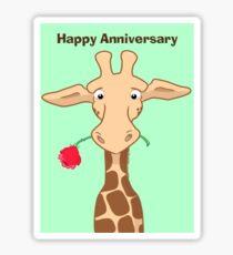 Giraffe and Rose Anniversary Card Sticker