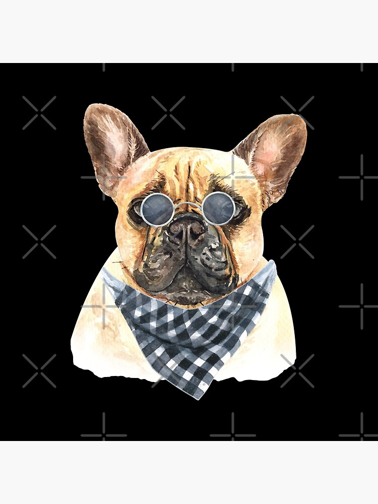 Watercolor  French Bulldog Cool Biker by dog-gifts