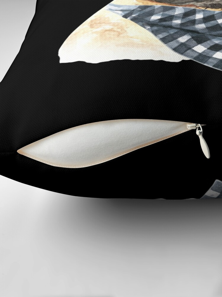 Alternate view of Watercolor  French Bulldog Cool Biker Throw Pillow
