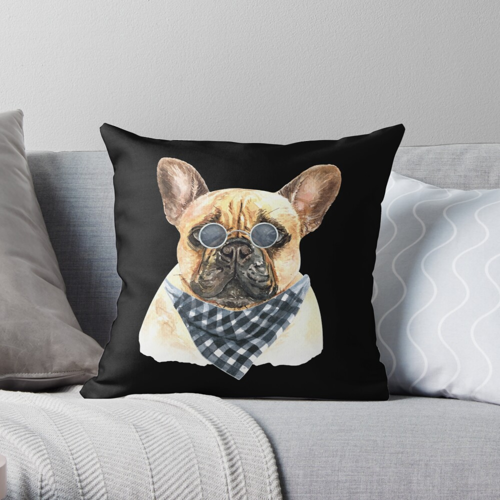 Watercolor  French Bulldog Cool Biker Throw Pillow
