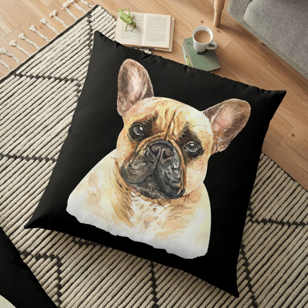 Watercolor  French Bulldog Dog Floor Pillow