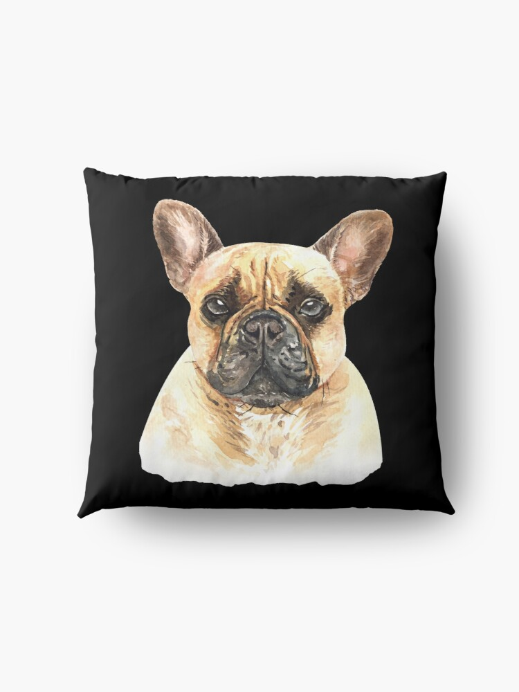 Alternate view of Watercolor  French Bulldog Dog Floor Pillow