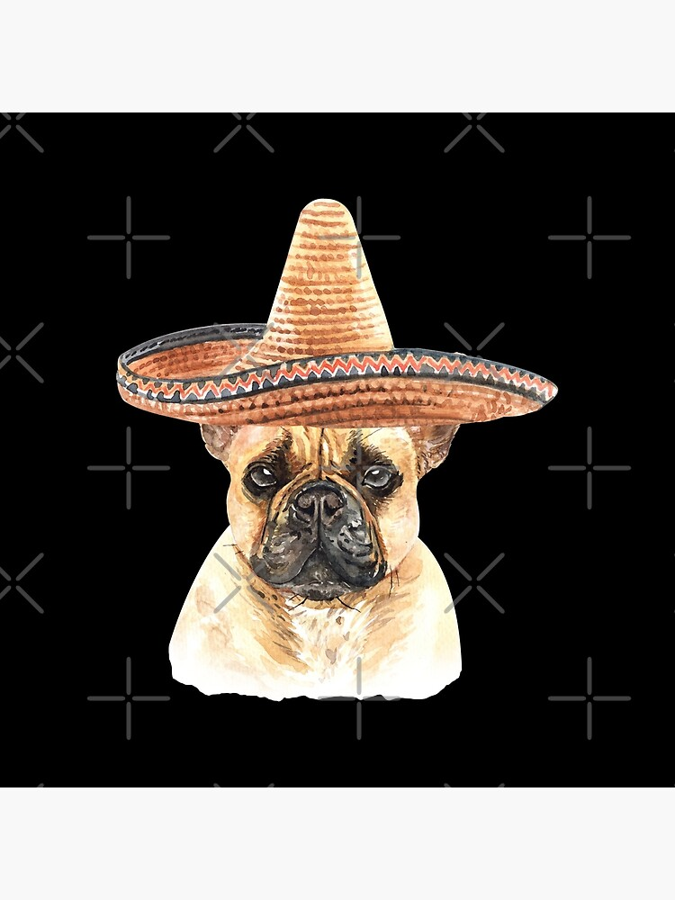 Watercolor  French Bulldog Mexican Sombrero Hat by dog-gifts