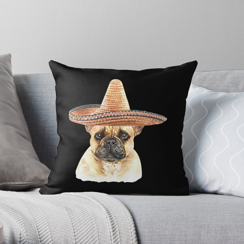Watercolor  French Bulldog Mexican Sombrero Hat Throw Pillow