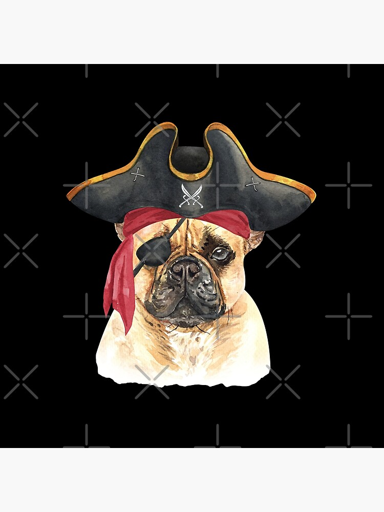 Watercolor  French Bulldog Pirate Hat Eye Patch by dog-gifts