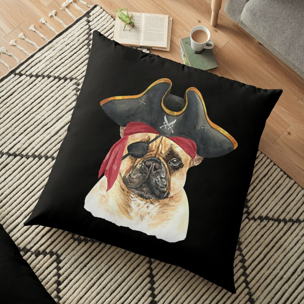 Watercolor  French Bulldog Pirate Hat Eye Patch Floor Pillow