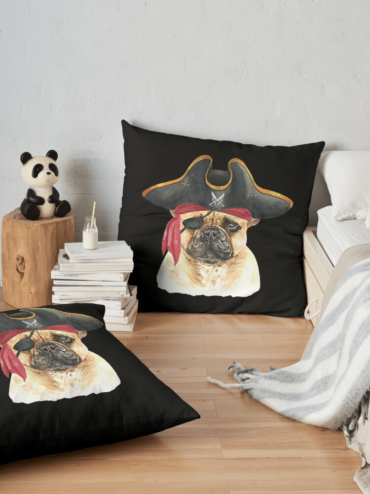 Alternate view of Watercolor  French Bulldog Pirate Hat Eye Patch Floor Pillow