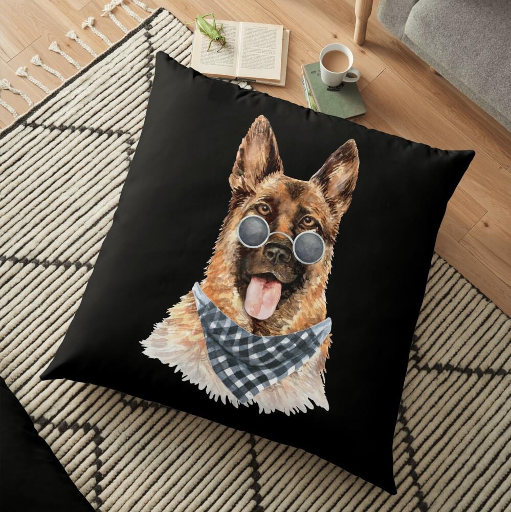 Watercolor  German Shepherd Cool Biker Floor Pillow