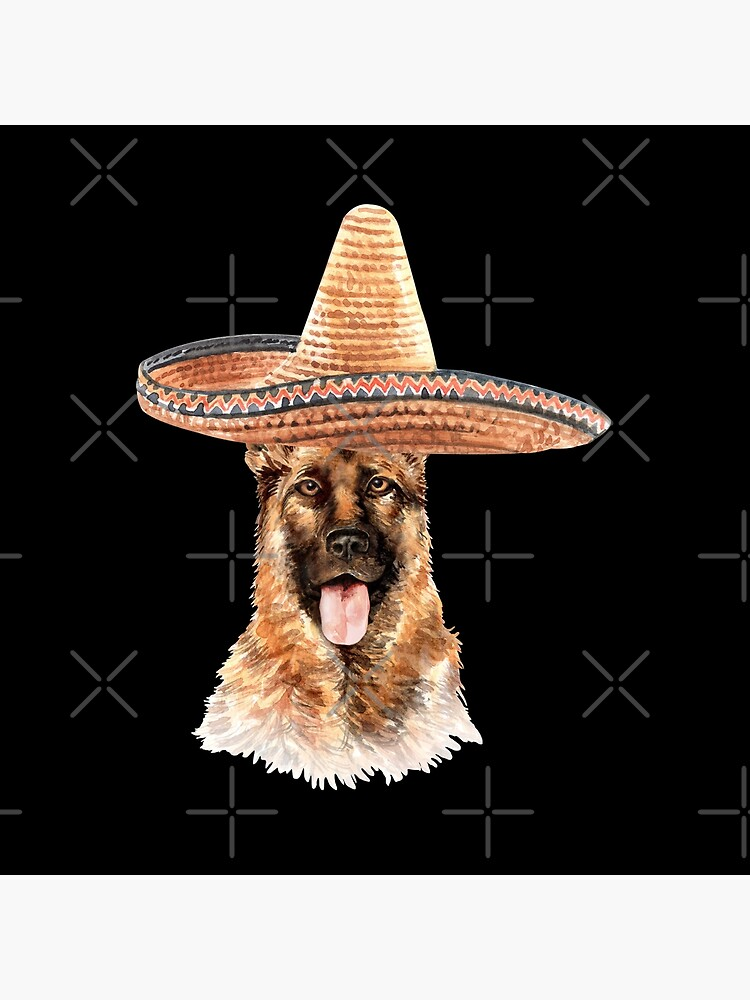 Watercolor  German Shepherd Mexican Sombrero Hat by dog-gifts