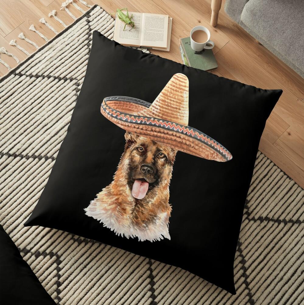 Watercolor  German Shepherd Mexican Sombrero Hat Floor Pillow