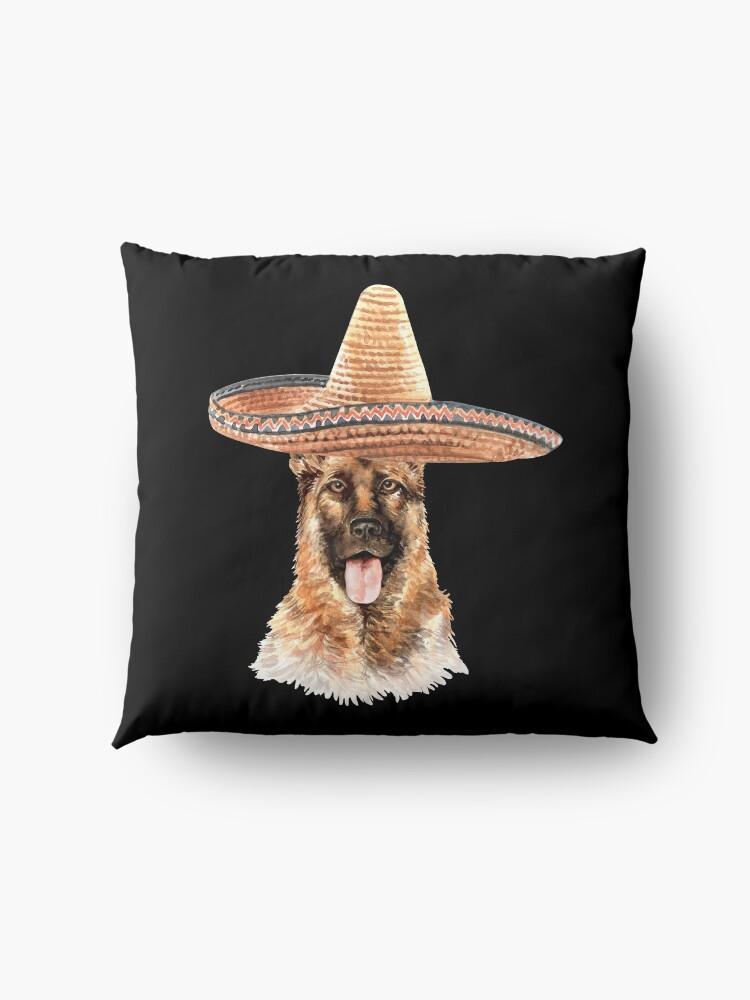 Alternate view of Watercolor  German Shepherd Mexican Sombrero Hat Floor Pillow