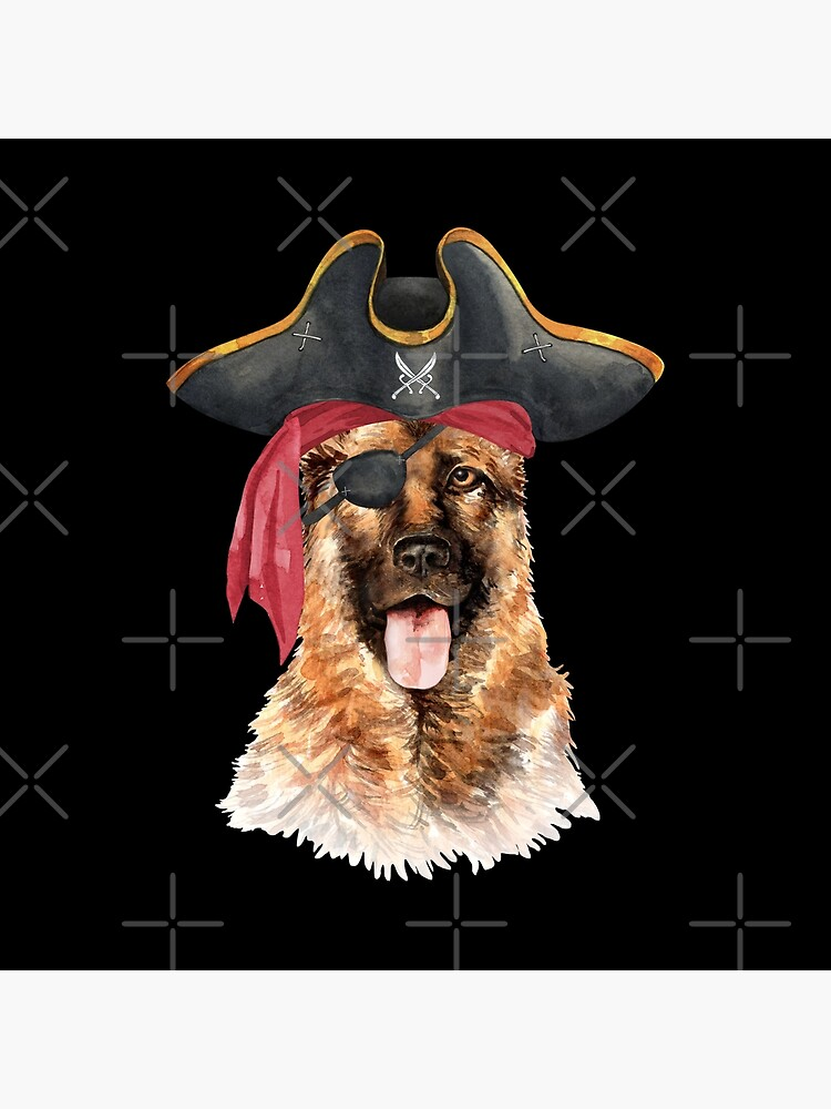 Watercolor  German Shepherd Pirate Hat Eye Patch by dog-gifts