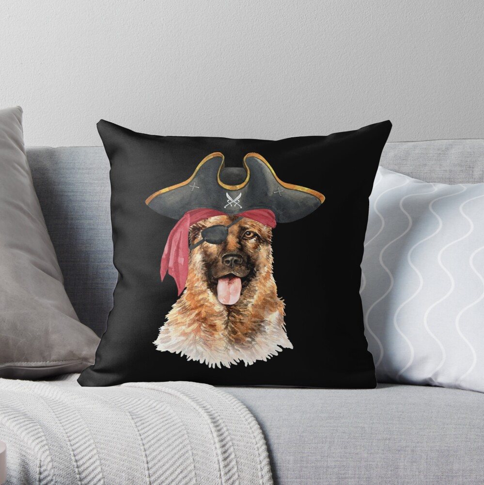 Watercolor  German Shepherd Pirate Hat Eye Patch Throw Pillow