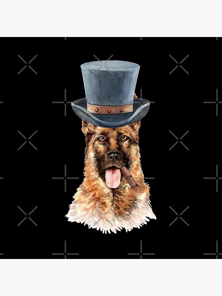 Watercolor  German Shepherd Top Hat by dog-gifts