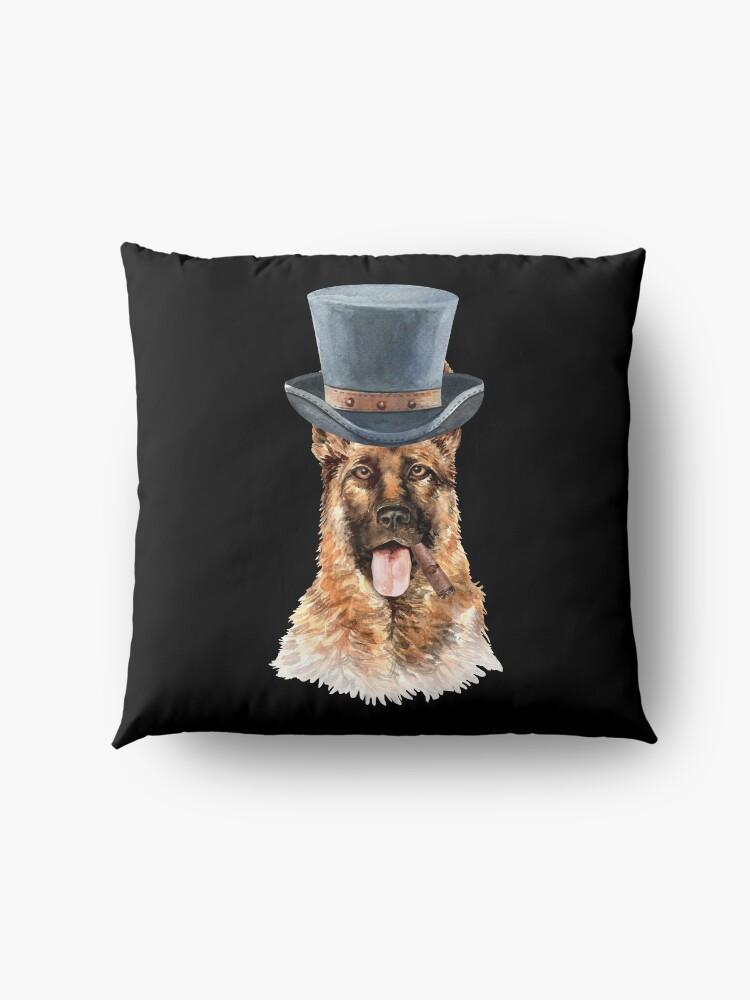Alternate view of Watercolor  German Shepherd Top Hat Floor Pillow