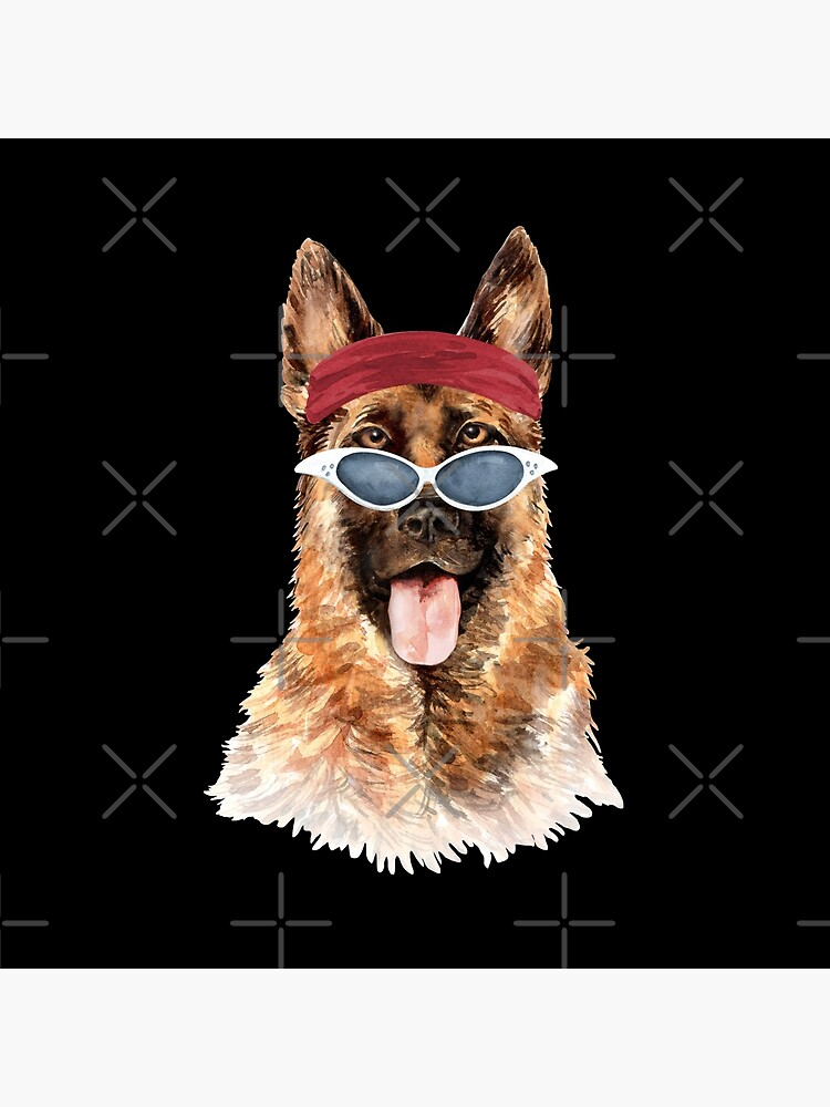 Watercolor  German Shepherd shades,gym,exercise, by dog-gifts