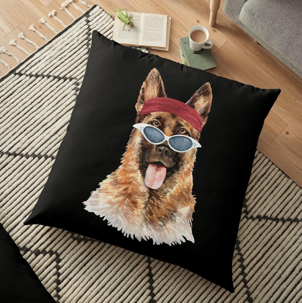 Watercolor  German Shepherd shades,gym,exercise, Floor Pillow