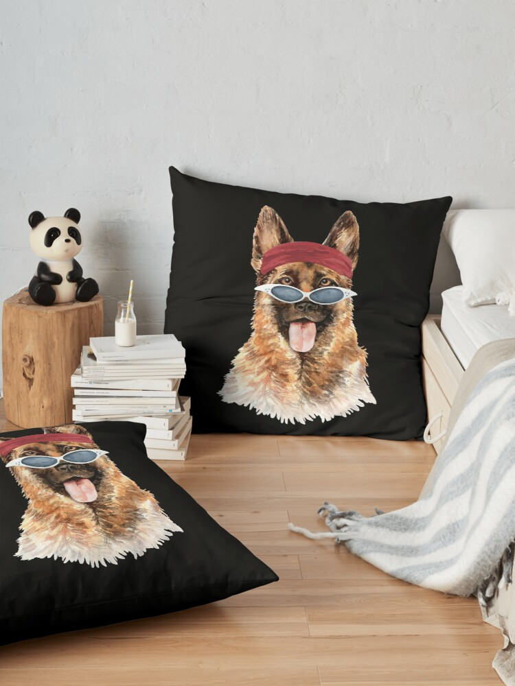 Alternate view of Watercolor  German Shepherd shades,gym,exercise, Floor Pillow