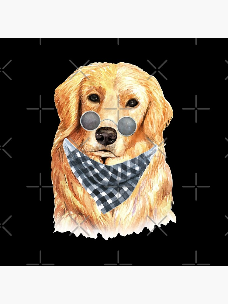 Watercolor  Golden Retriever Cool Biker by dog-gifts