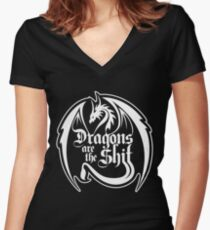Dragons Are The Shit Women's Fitted V-Neck T-Shirt