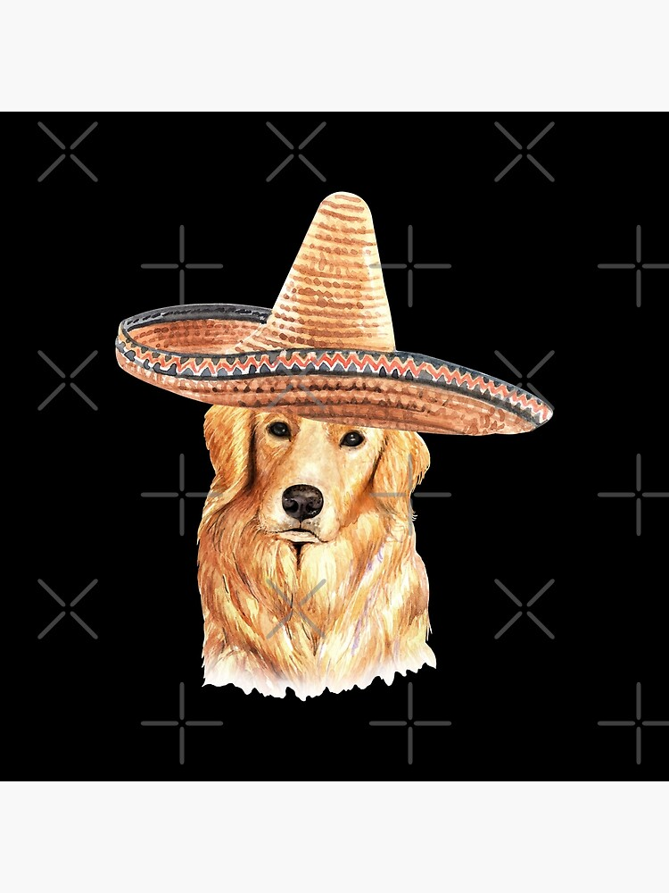 Watercolor  Golden Retriever Mexican Sombrero Hat by dog-gifts