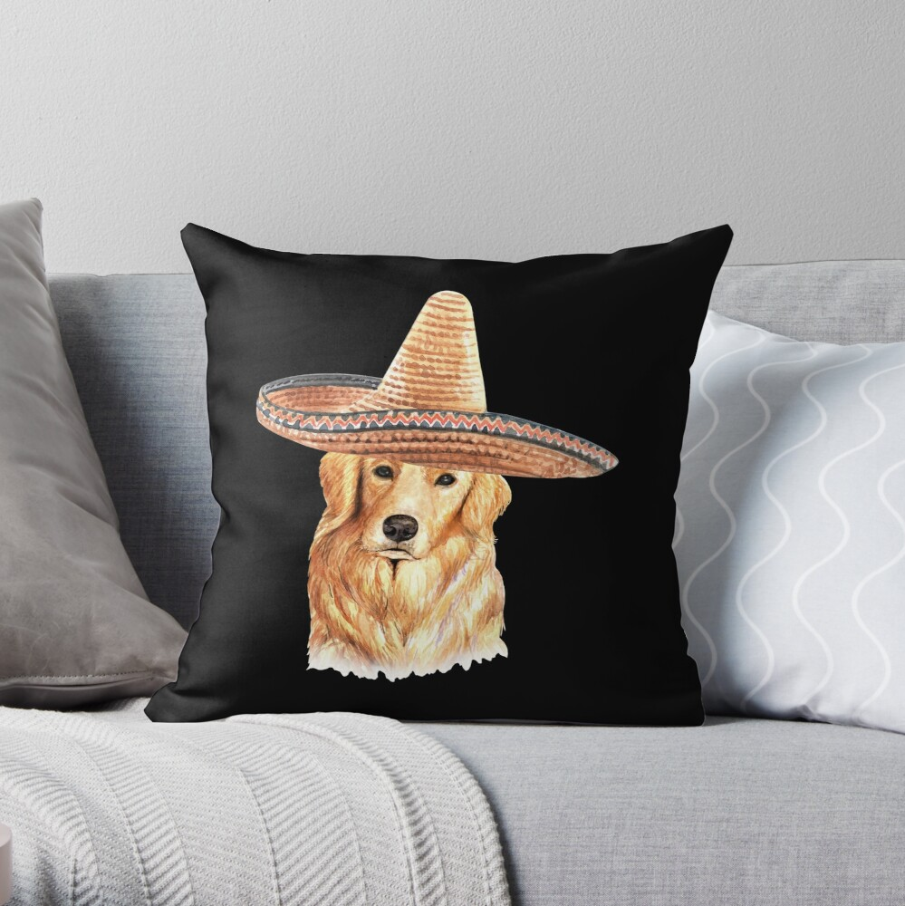 Watercolor  Golden Retriever Mexican Sombrero Hat Throw Pillow