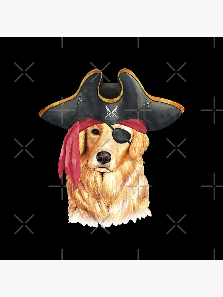 Watercolor  Golden Retriever Pirate Hat Eye Patch by dog-gifts