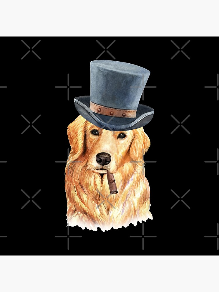 Watercolor  Golden Retriever Top Hat by dog-gifts