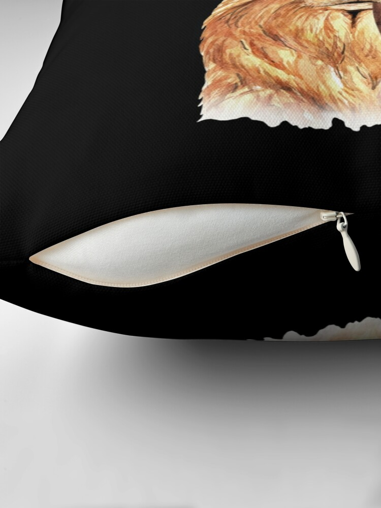 Alternate view of Watercolor  Golden Retriever Top Hat Throw Pillow