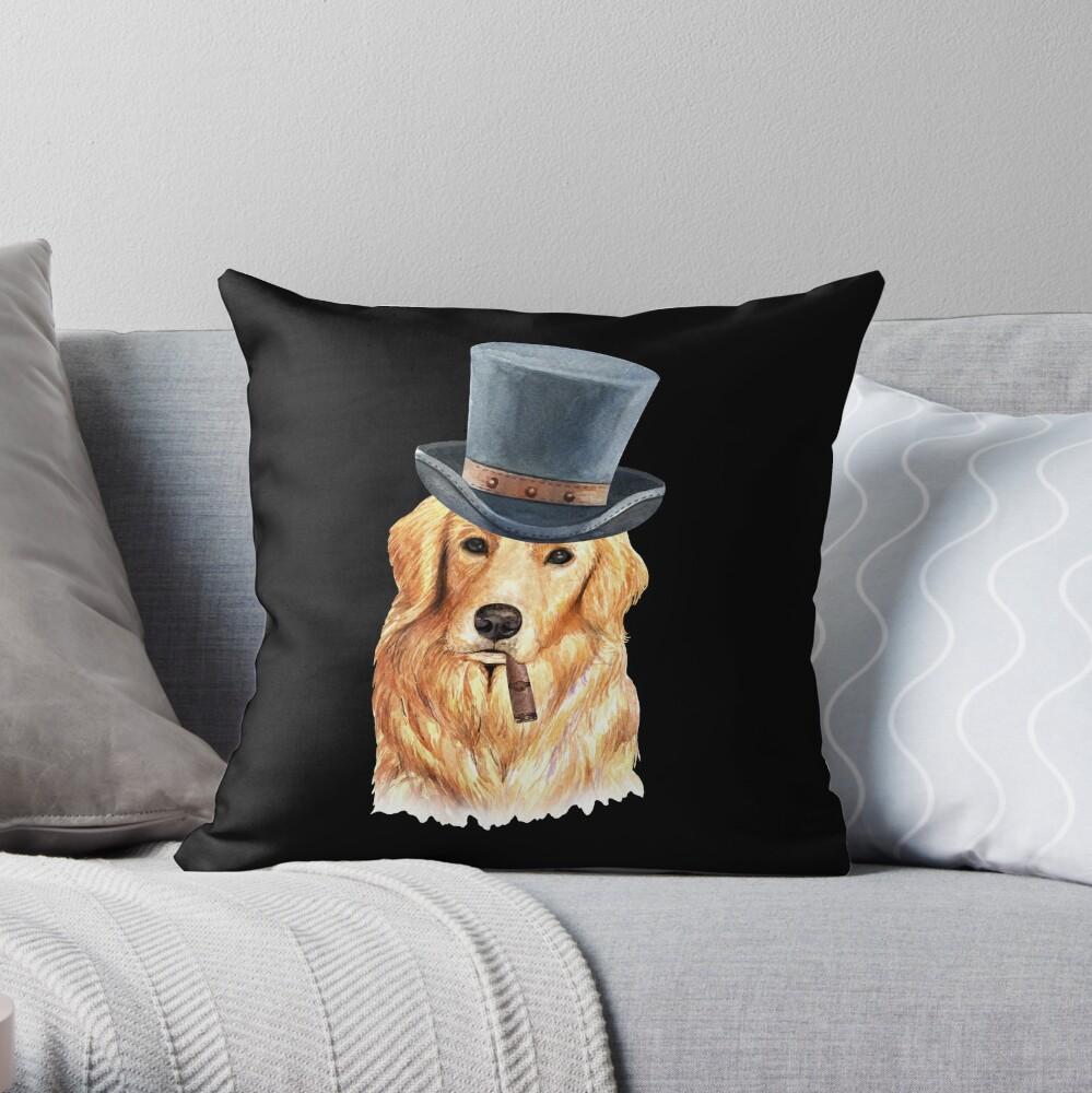 Watercolor  Golden Retriever Top Hat Throw Pillow