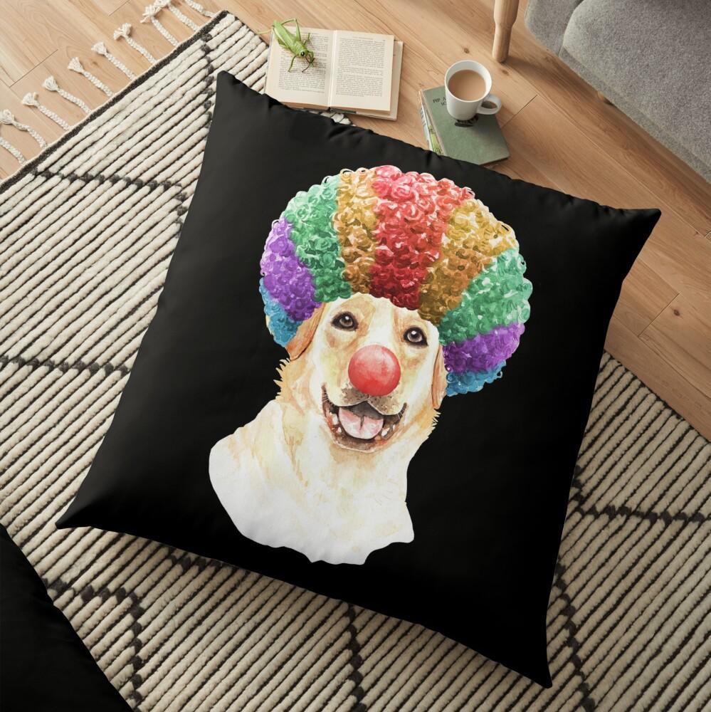 Watercolor  Labrador Retriever Clown Floor Pillow