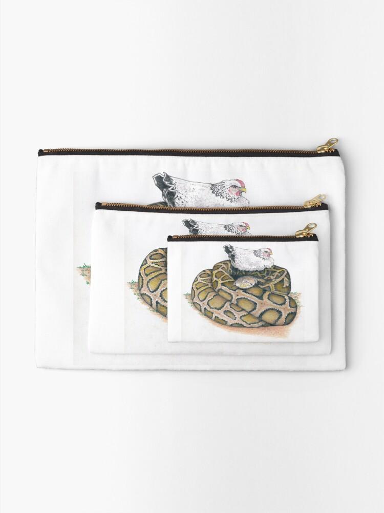 Alternate view of chicken on a python Zipper Pouch