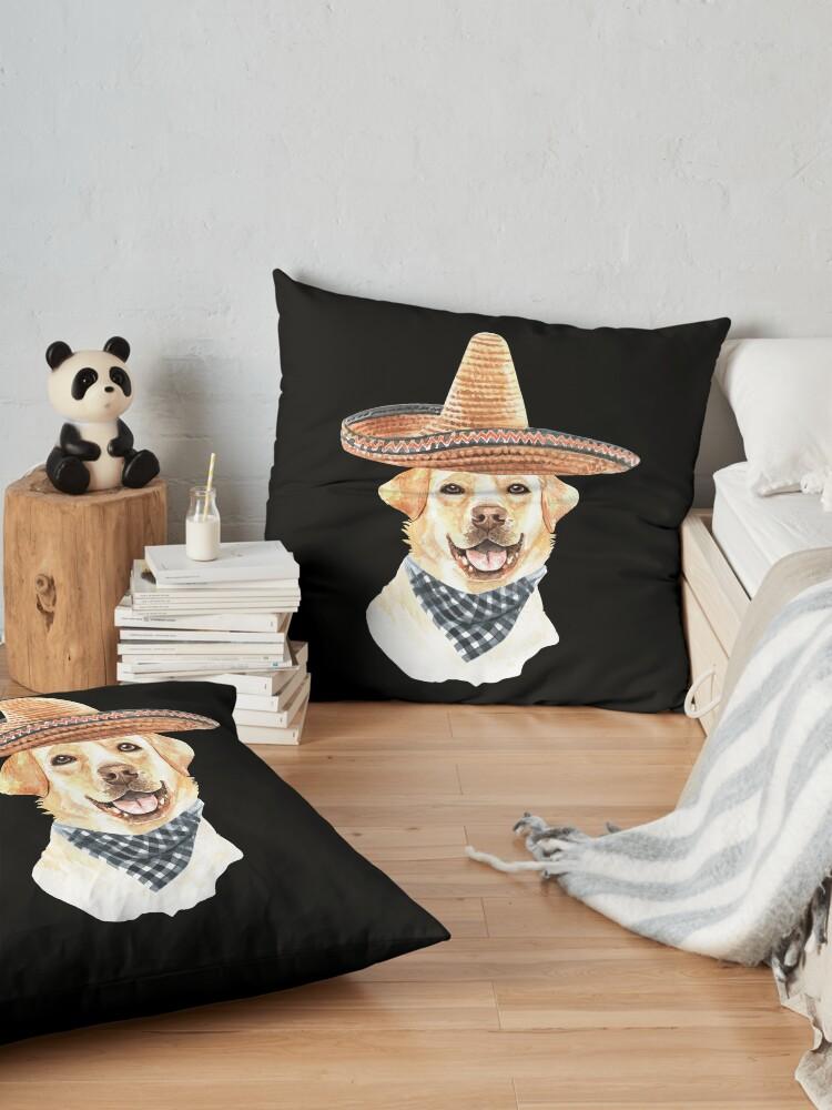 Alternate view of Watercolor  Labrador Retriever Mexican Sombrero Hat Floor Pillow