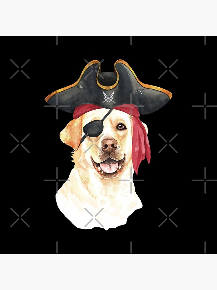 Watercolor  Labrador Retriever Pirate Hat Eye Patch by dog-gifts