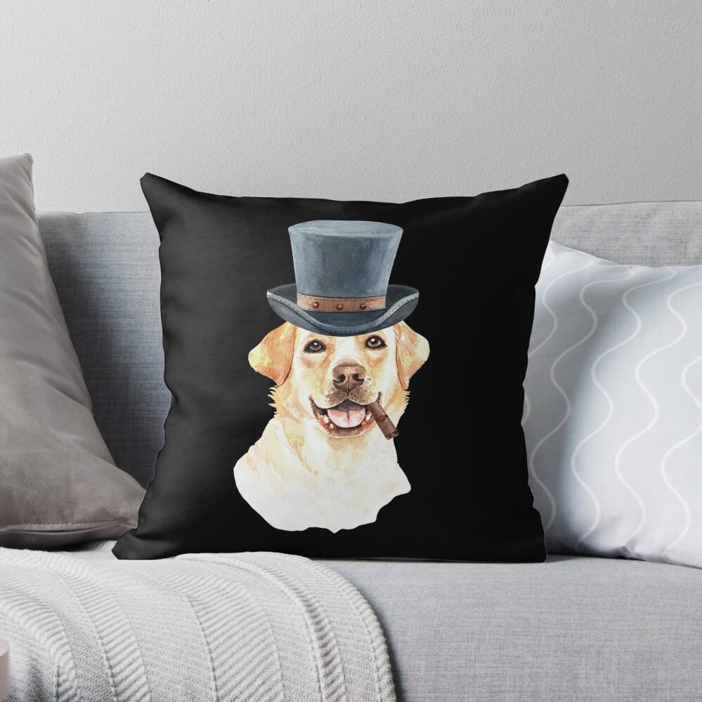 Watercolor  Labrador Retriever Top Hat Throw Pillow