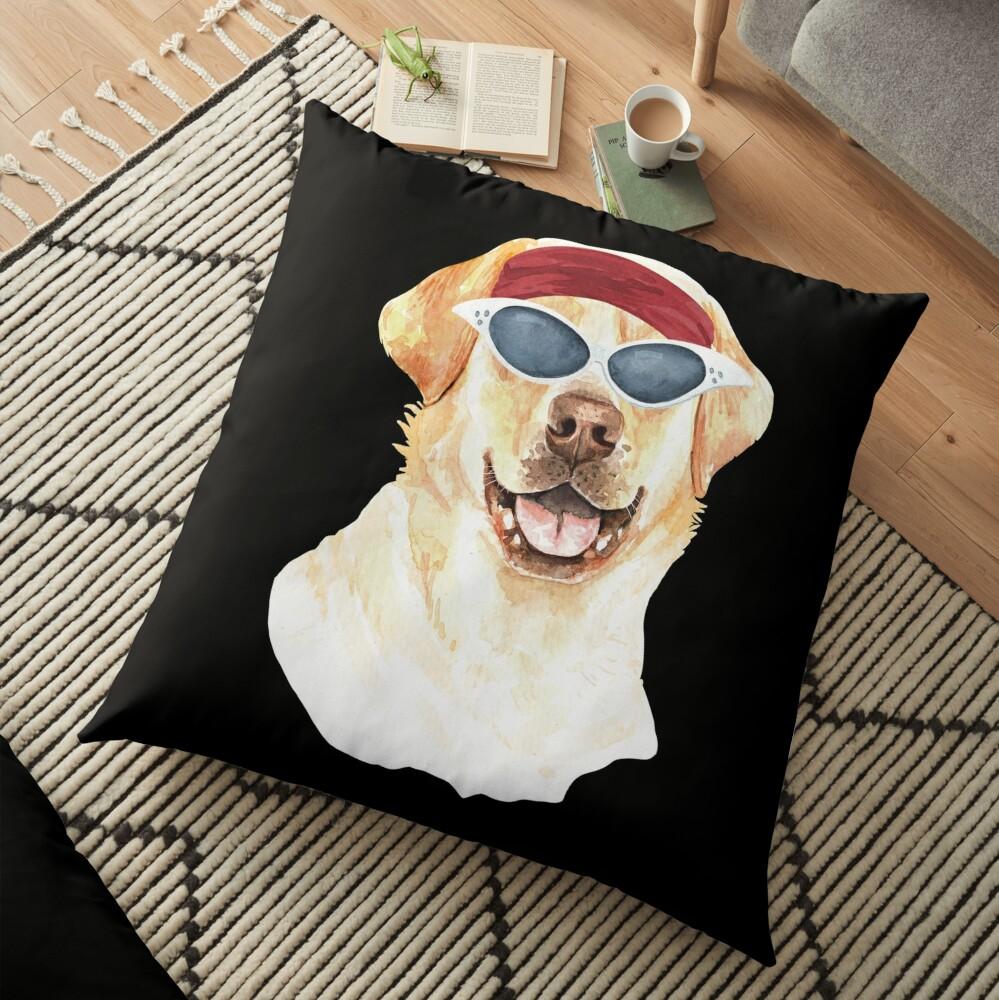 Watercolor  Labrador Retriever shades,gym,exercise, Floor Pillow