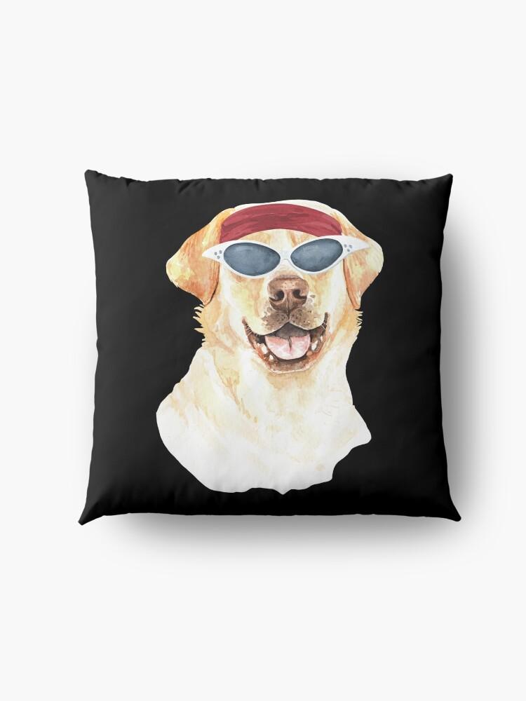 Alternate view of Watercolor  Labrador Retriever shades,gym,exercise, Floor Pillow