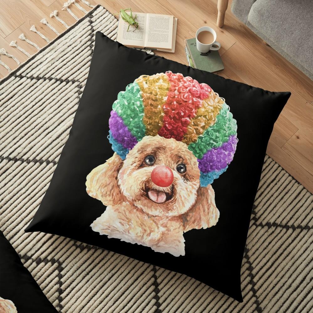 Watercolor  Poodle Clown Floor Pillow
