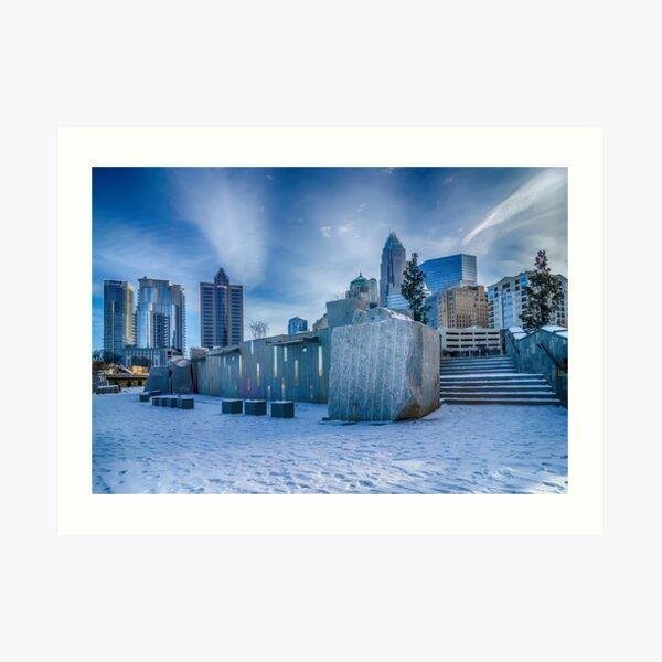 charlotte city skyline behind romare bearden park Art Print