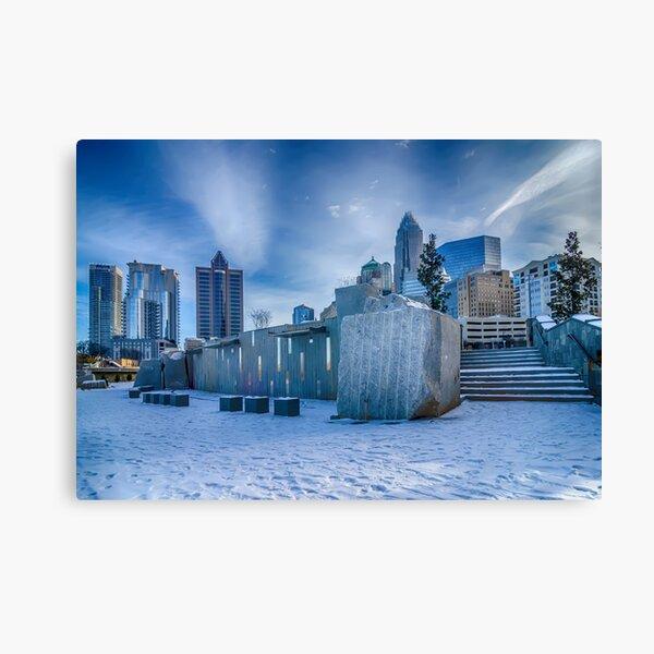 charlotte city skyline behind romare bearden park Canvas Print