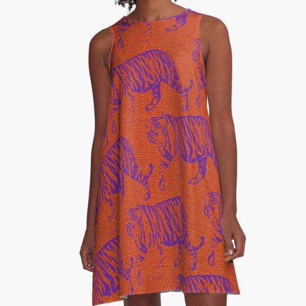 Tigers - Purple and Orange A-Line Dress