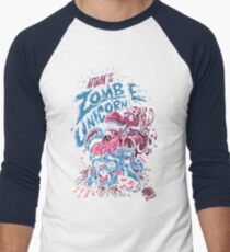 Zombie Unicorn Attacks Men's Baseball ¾ T-Shirt