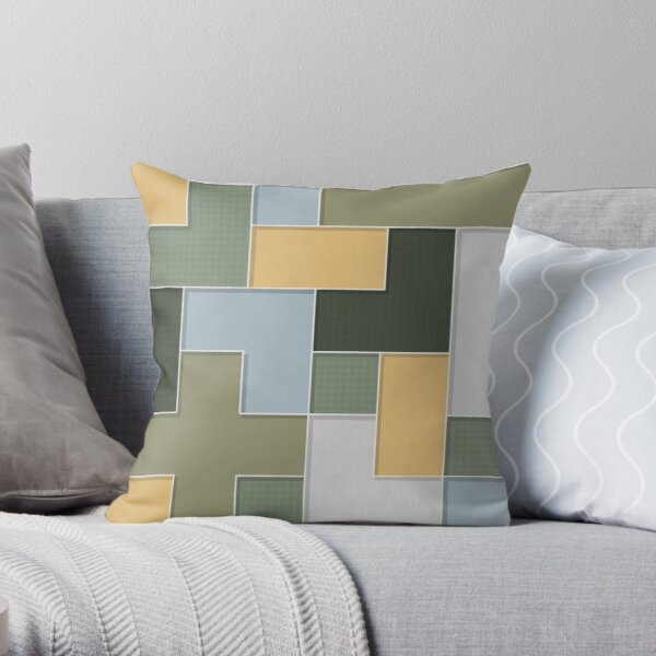 Tessellated Green House  Throw Pillow