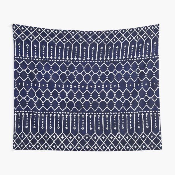 Indigo Dark Calm Blue Moroccan Atlas Style Design. Tapestry