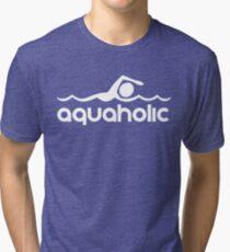 Aquaholic T-Shirt design for swimmers Tri-blend T-Shirt