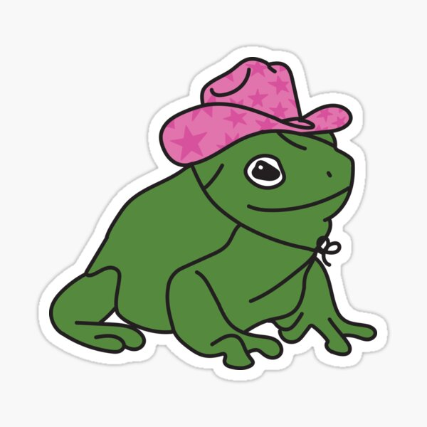 Frog With A Pink Cowboy Hat Sticker